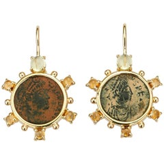 Dubini Constantine Roman Ancient Bronze Coin Helidor Citrine Gold Earrings