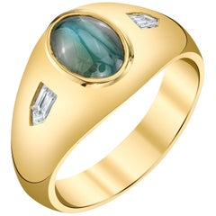 Cat's Eye Alexandrite Men's Ring 18 Karat Yellow Gold