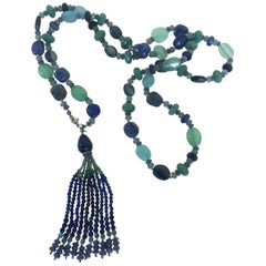 Blue and Green Semi Precious Stone Sautoir with 14 Karat White Gold and Tassel