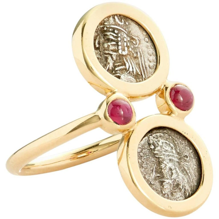 Dubini Kings of Persis Ancient Silver Coin Ruby Gold Ring