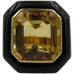 Black Jade, Citrine and Gold Ring