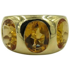 Citrine and Yellow Gold Three-Stone Gypsy Ring