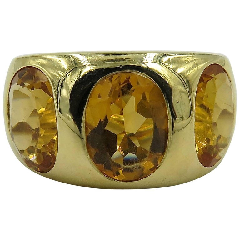 Citrine And Yellow Gold Three Stone Gypsy Ring At 1stdibs