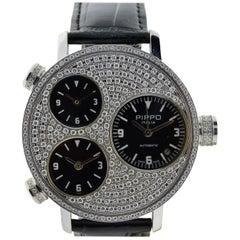 Pippo Steel Diamond Bezel Automatic Watch, circa 2010 with 3 Carats of Diamonds