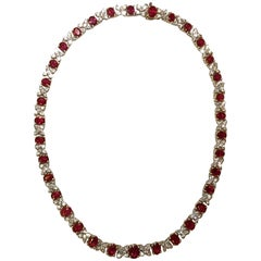18 Karat Yellow Gold and White Gold Ruby and Diamond Necklace