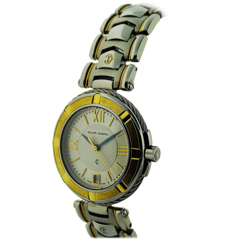 Philippe Charriol Yellow Gold Stainless Steel Bracelet Quartz Watch