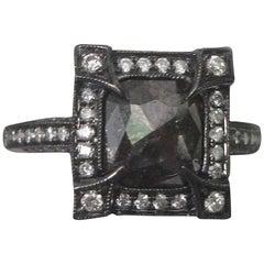Natural 1.10 Carat Black Diamond White Gold Engagement Ring