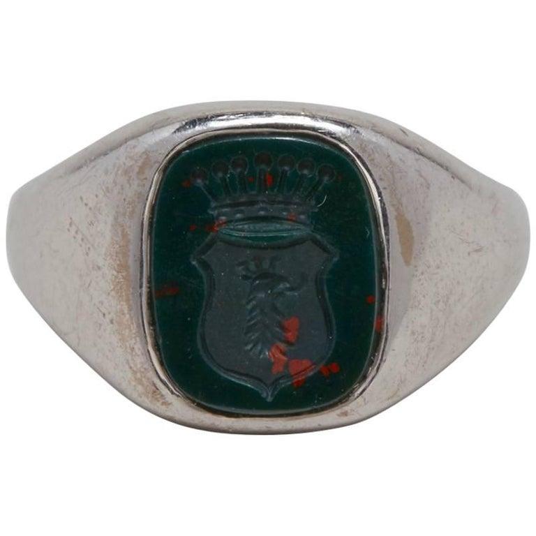 18 Karat White Gold Gentlemen's Signet Ring