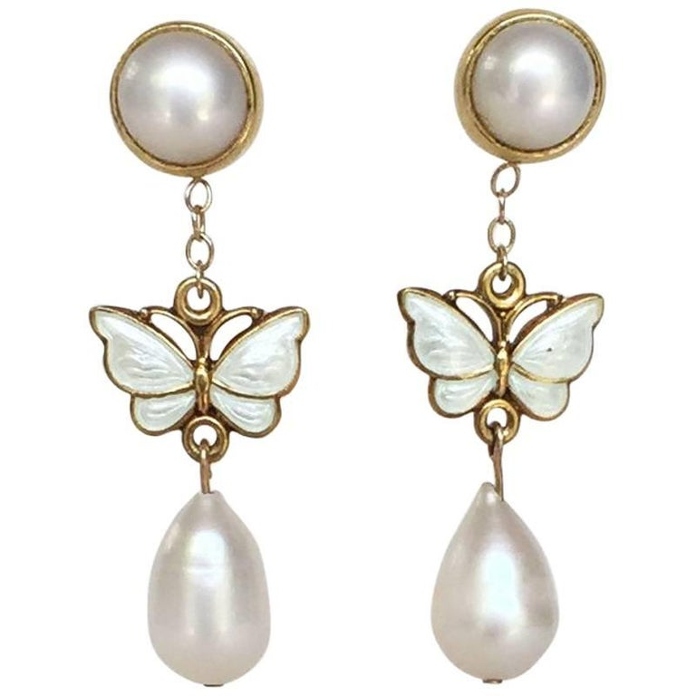Pearl and Vintage Enameled Butterfly Earring
