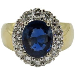 Sapphire, Platinum, Diamond and Gold Ring