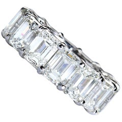 14.44 Carat Emerald Cut Diamond Platinum Eternity Band 1.00 Carat Each