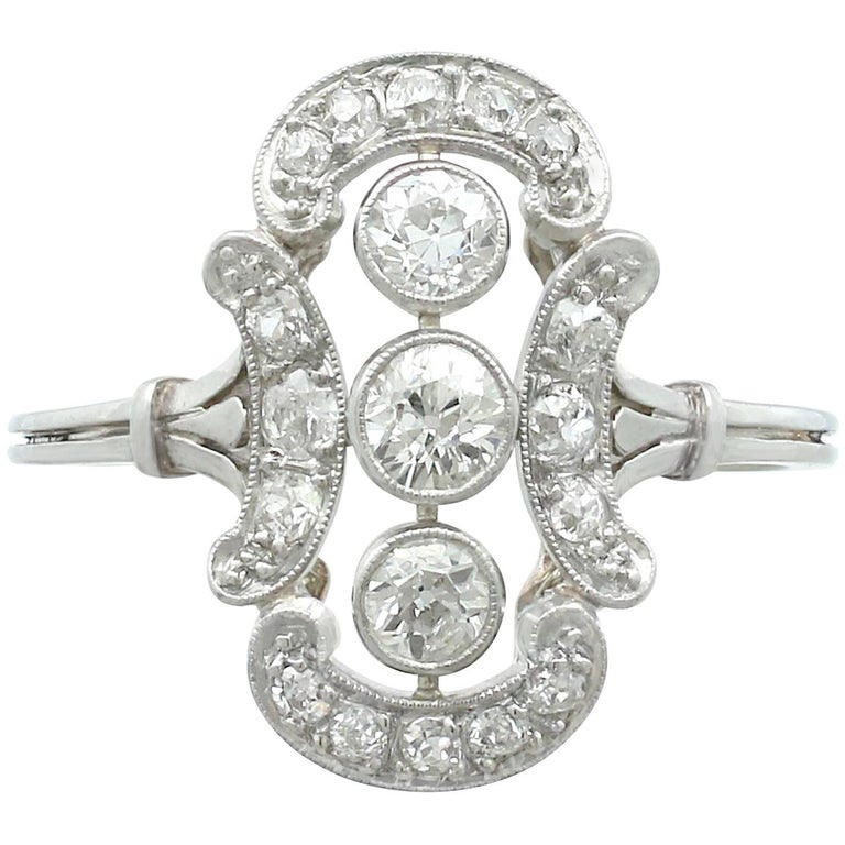 1920s Diamond 14 Karat White Gold Dress Ring