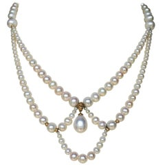 Graduated Pearl Draped Necklace with 14 Karat Gold Beads and Clasp by Marina J
