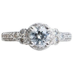 1.20 Carat Diamond Halo and 14 Karat White Gold Engagement Ring