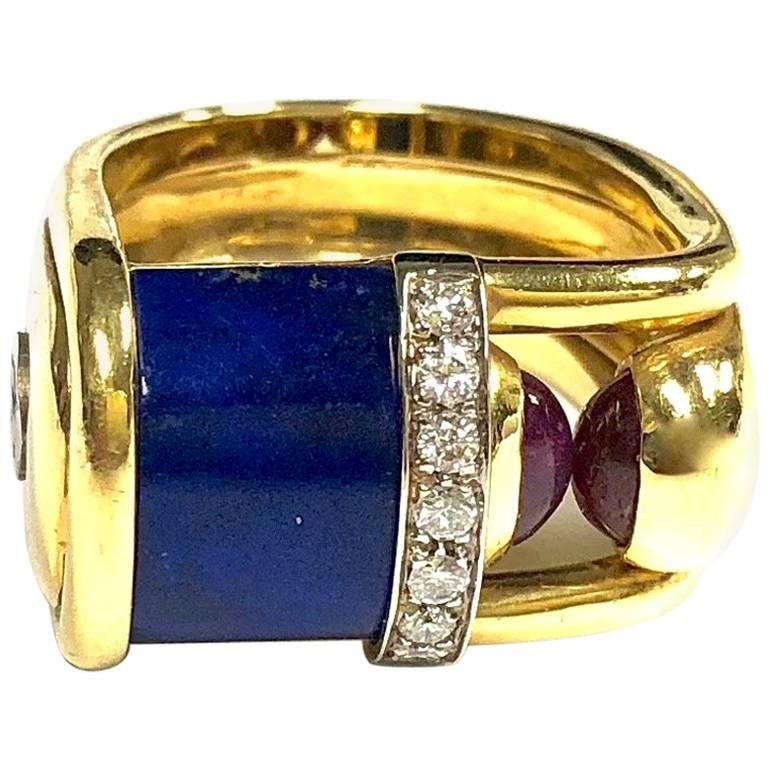 Modernist Style Centoventuno Lapis Lazuli Diamond and Ruby Gold Ring