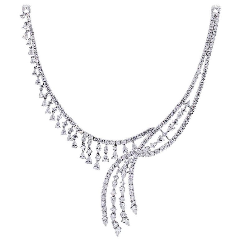Multi Shape Diamond Waterfall Necklace