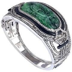 Jade and Diamond Bangle