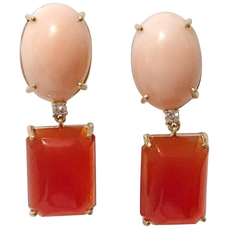Andrew Clunn Geometric Drop Earring with Coral and Carnelian and Diamond