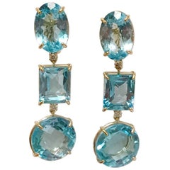 18 Karat Yellow Gold Three Drop Earring with Blue Topaz and Diamond