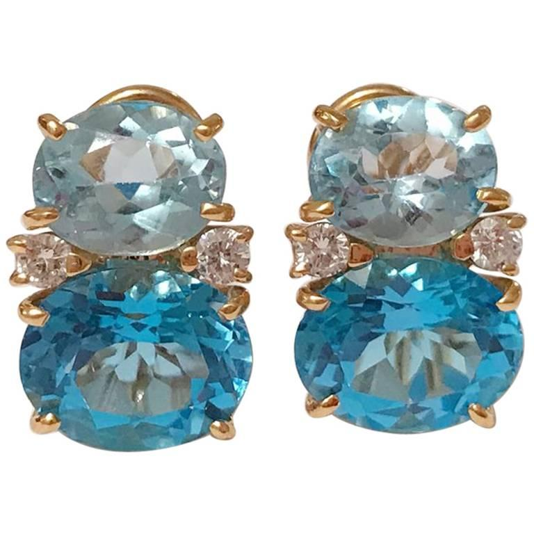 Medium Gum Drop Earrings with Two-Toned Blue Topaz and Diamonds