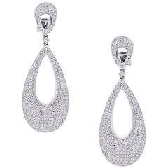 Diamond Pave Oval Dangle Earrings