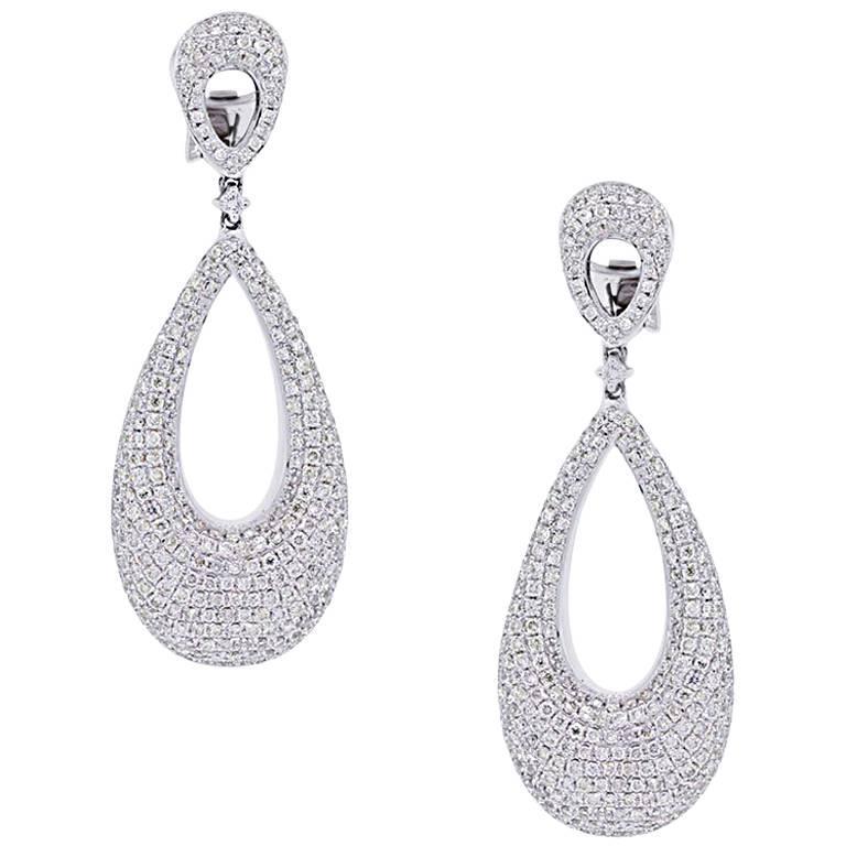 Diamond Pave Oval Dangle Earrings