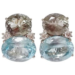 Large Gum Drop Earrings with Green Amethyst and Pale Blue Topaz and Diamonds