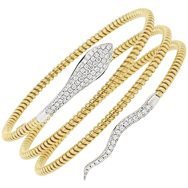 Pave Diamond Snake Wrap Bracelet