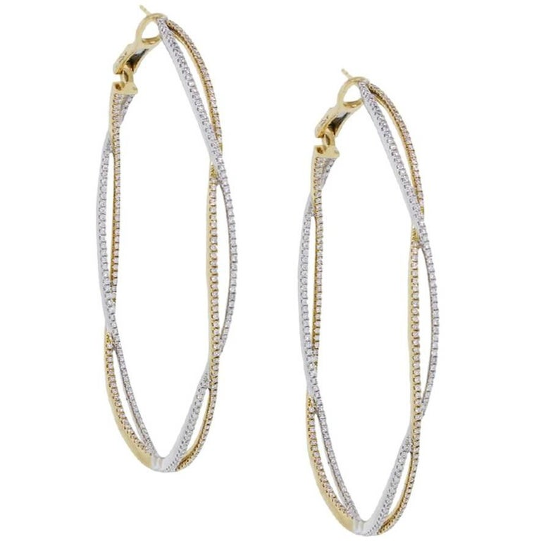 Diamond Infinity Hoop Earrings For