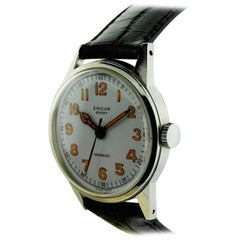 Enicar Stainless Steel Enamel Dial Manual Wind Wristwatch, circa 1930s
