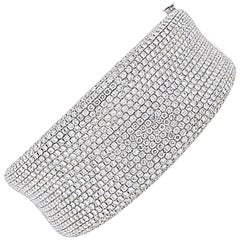 Pave Diamond Wide Bangle Bracelet