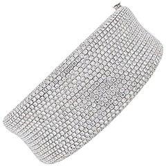 Pave Diamond Wide Bangle Bracelet