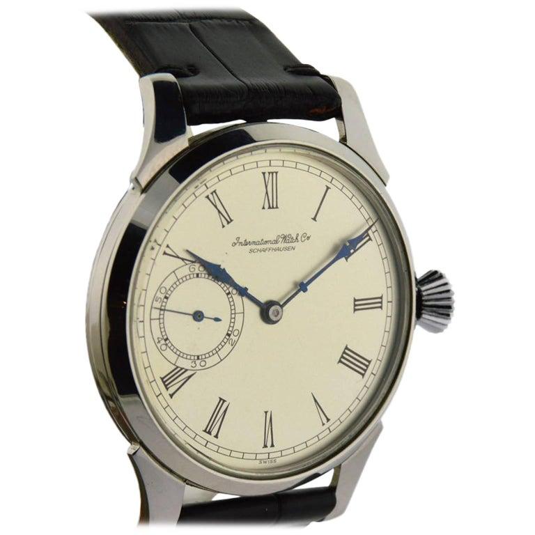 bd4770654 I.W.C. Schaffhausen Stainless Steel Oversized Pocket Watch For Sale ...