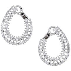 Marquise and Round Brilliant Diamond Earrings