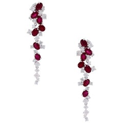 Diamond and Ruby Waterfall Drop Earrings