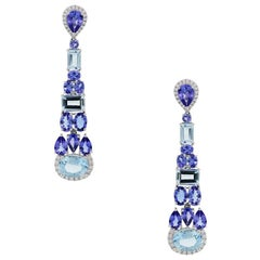Diamond, Tanzanite, and Aquamarine Dangle Earrings