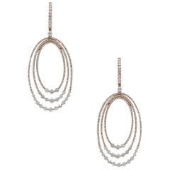 Diamond Oval Dangle Earrings