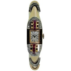 Bueche Girod Ladies Rose Gold Diamond Ruby Art Deco French Cocktail Wristwatch