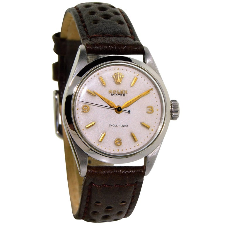 Rolex Stainless Steel Art Deco Oyster Manual Watch, circa 1950s For Sale