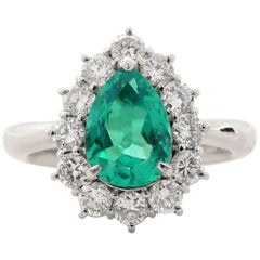 .95 Carat Emerald Diamond Platinum Ring