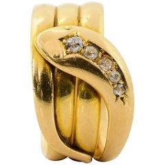 Edwardian Era Diamond Yellow Gold Serpent Ring