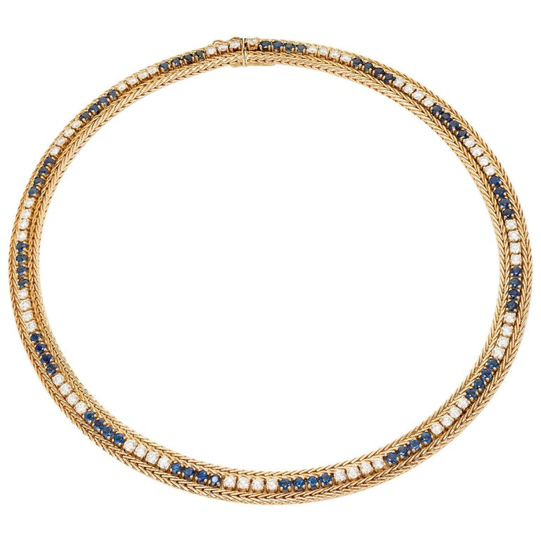 12.60 Carat Sapphire Diamond Yellow Gold Necklace