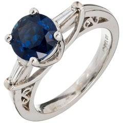 Peter Suchy GIA Certified 1.25 Carat Sapphire Diamond Platinum Engagement Ring