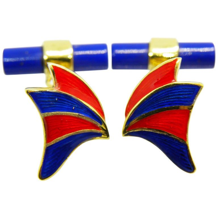 Hand Enameled Butterfly Shaped Lapis Stick Back 18 Carat Yellow Gold Cufflinks