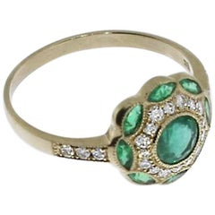 Emerald and Diamond Floral Gold Ring