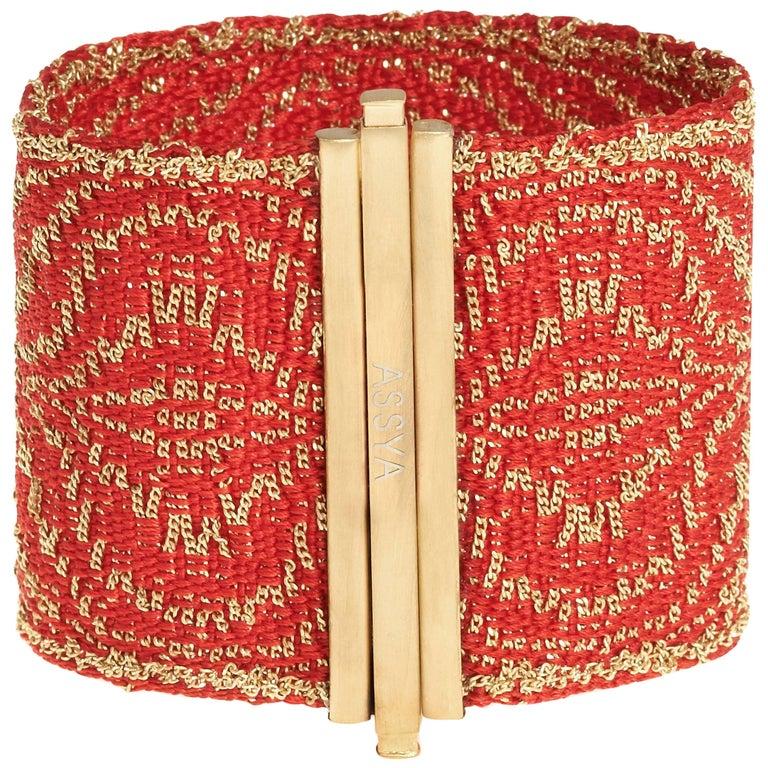 Gold Vermeil and Red Silk Woven Cuff Bracelet