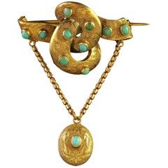 Antique Victorian 15 Carat Gold Turquoise Locket Brooch, circa 1860
