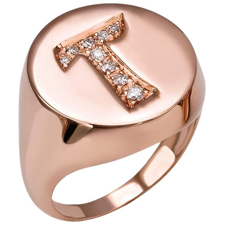 J Initial Signet Ring