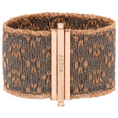 Assya London Grey Silk Rose Gold Vermeil Cuff Bracelet