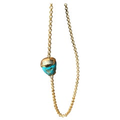 Tumbled Turquoise Series, 18 Karat Yellow Gold, Turquoise Stone Necklace Set